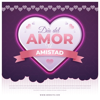 Amor dia grande coração com fita