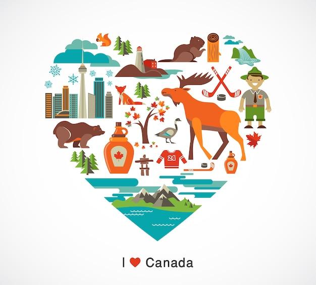 Amor do canadá - coração com muitos cliparts e ilustrações Vetor Premium