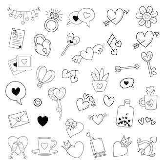 Amor doodle vetor definido ilustração com vetor de estilo de arte de linha.