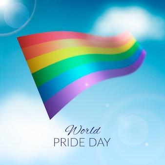 Amor é amor bandeira do dia do orgulho com luz desfocada