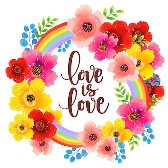 Amor é amor orgulho caligrafia aquarela flores