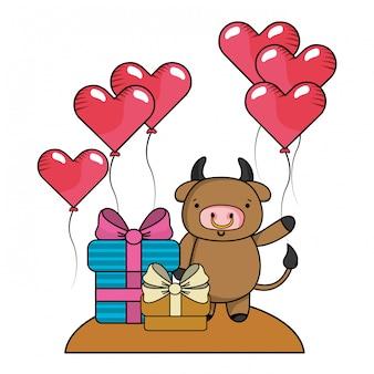 Amor e animais dos desenhos animados