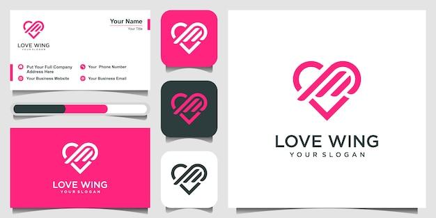 Amor e asas logotipo e cartão de visita