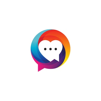 Amor e balão de fala para comunicação e design de logotipo de namoro