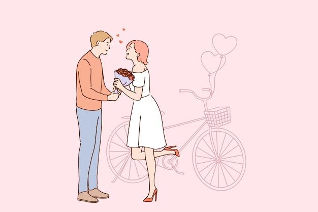 Amor e conceito de namoro romântico