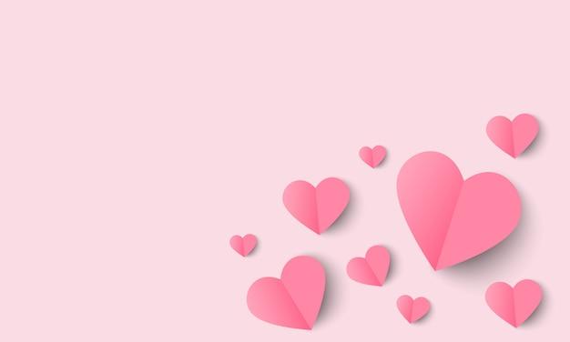 Amor e dia dos namorados fundo com coração de origami.