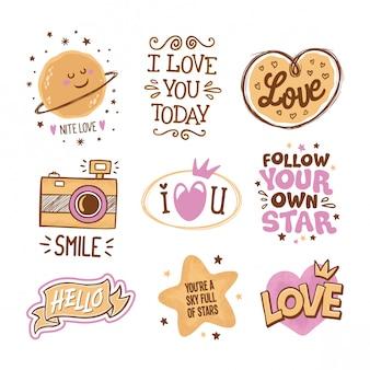 Amor e estrelas citações mão desenhada em rabiscos