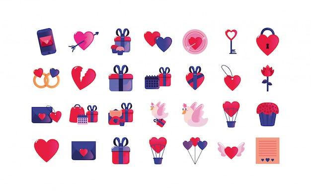 Amor e feliz dia dos namorados conjunto de ícones