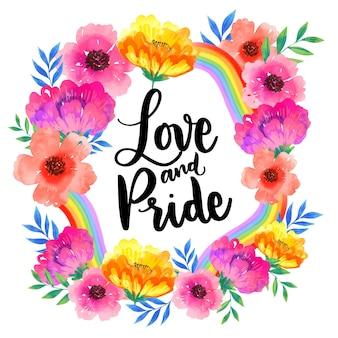 Amor e orgulho lettering flores em aquarela