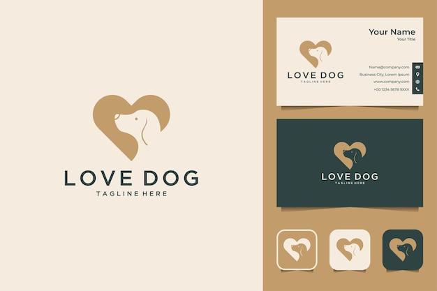 Amor elegante com design de logotipo de cachorro e cartão de visita