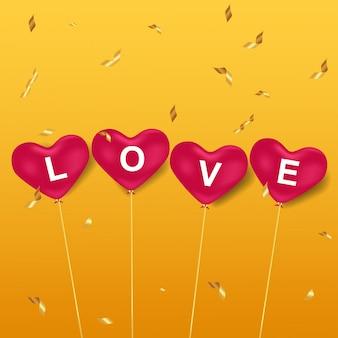 Amor em balões de coração rosa