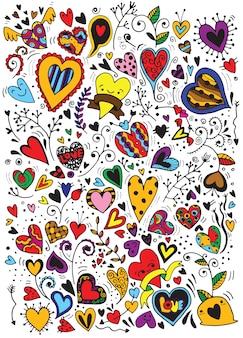 Amor esboçado e corações doodles