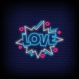 Amor estilo de sinais de néon