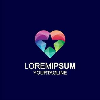 Amor estrela gradiente cor inspiração incrível logotipo