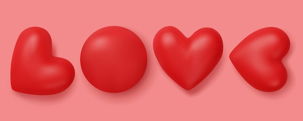 Amor faz por grupo de coração vermelho isolado em rosa.