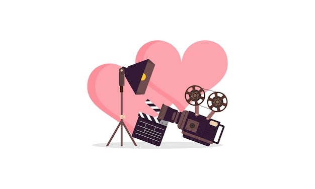 Amor filme coração cinema filme criativo logotipo simples ilustração