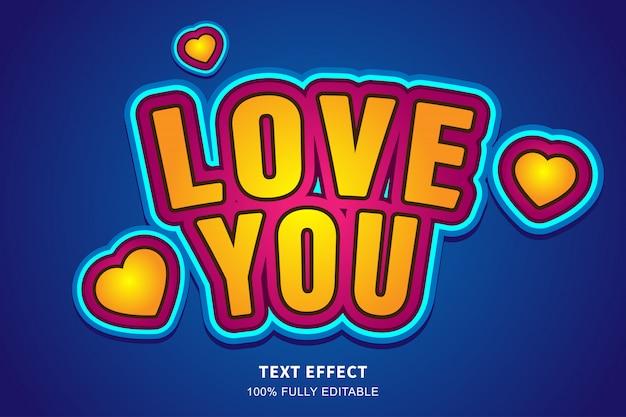 Amor fresco efeito de texto adesivo bonito, texto editável