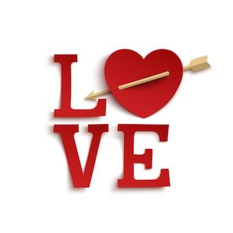Amor ... letras de mão de estilo de papel.