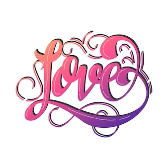Amor letras design de vetor de cartão de dia dos namorados