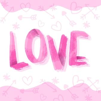 Amor letras estilo aquarela