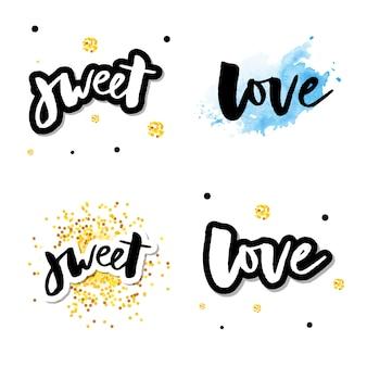 Amor logo vector rotulação slogan conjunto de caligrafia
