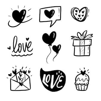 Amor mão desenho doodle conjunto de coleta
