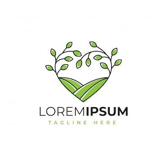 Amor natureza fazenda logotipo design vector