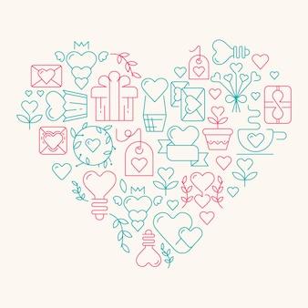 Amor no coração gigante com muitos elementos que simbolizam a ilustração do dia dos namorados