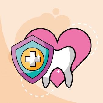 Amor odontologia dente escudo proteção cruz