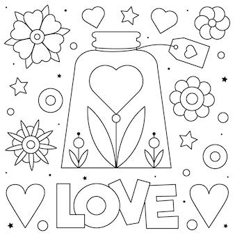 Amor Pagina Para Colorir Vetor Premium