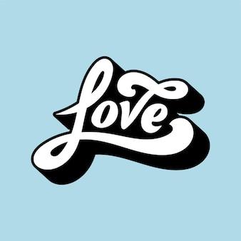 Amor, palavra, tipografia, estilo, ilustração
