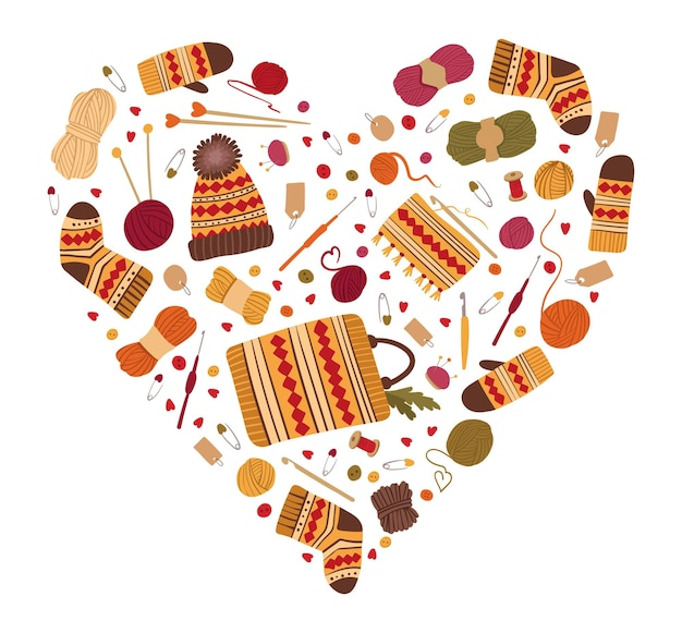 Amor por tricô e moldura em forma de coração de crochê. roupas e ferramentas de lã de inverno quente feitas à mão