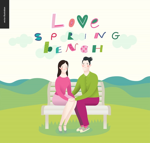 Amor, primavera, banco. um casal apaixonado