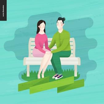 Amor, primavera, banco - um casal apaixonado