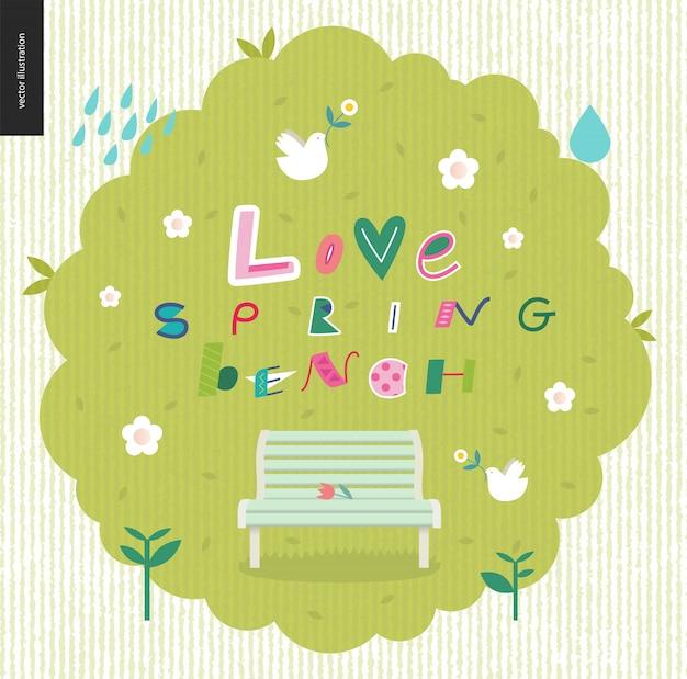 Amor, primavera, diversão banco lettering