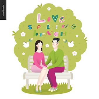 Amor, primavera, letras de banco e um casal apaixonado