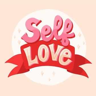 Amor próprio com letras de texto de fita