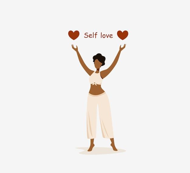 Amor próprio e cuidado jovem mulher com pele escura segurando um coração