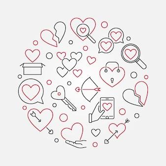 Amor quebrado vector rodada ilustração de contorno