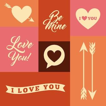 Amor romântico cartão isolado