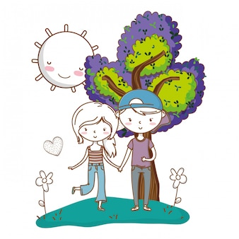 Amor romântico casal fofo