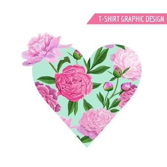 Amor romântico coração floral design