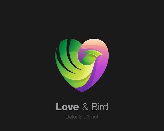 Amor roxo com logotipo de pássaro verde