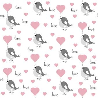 Amor sem costura padrão com pássaros e corações