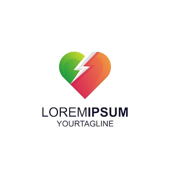 Amor trovão gradiente cor inspiração incrível logotipo