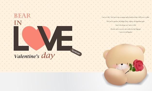 Amor urso feliz dia dos namorados fundo rosa