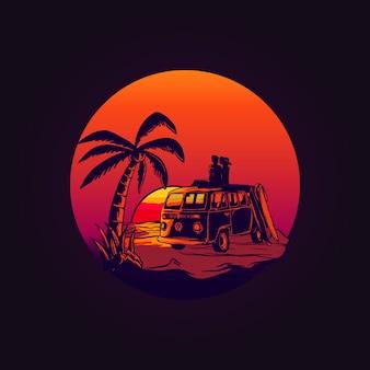 Amor van volkswagen no pôr do sol