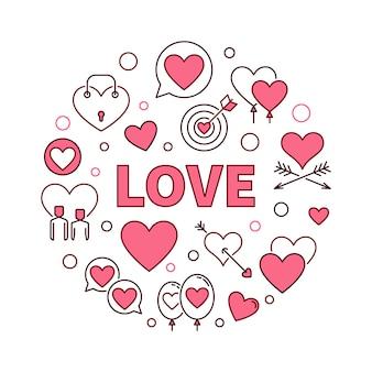 Amor vector rodada ilustração criativa conceito ou elemento de design