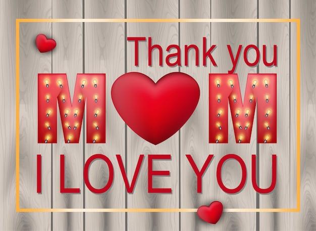 Amor vetor do cartão do dia da mãe. fundo de textura de madeira