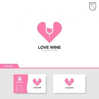 Amor vinho design de logotipo